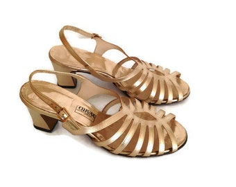e646a38123 Vintage 80s Glam Shiny Metallic pumps GOLD high heels open toe cage sandals  80s slingbacks hipster disco wovemn high heels womens size 9