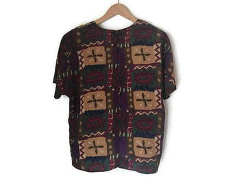 SALE Vintage Abstract Blouse Colorful Tribal Print Top Boxy Shirt 1980s 80s Floral Shirt Geometric Graphic Shirt womens Medium