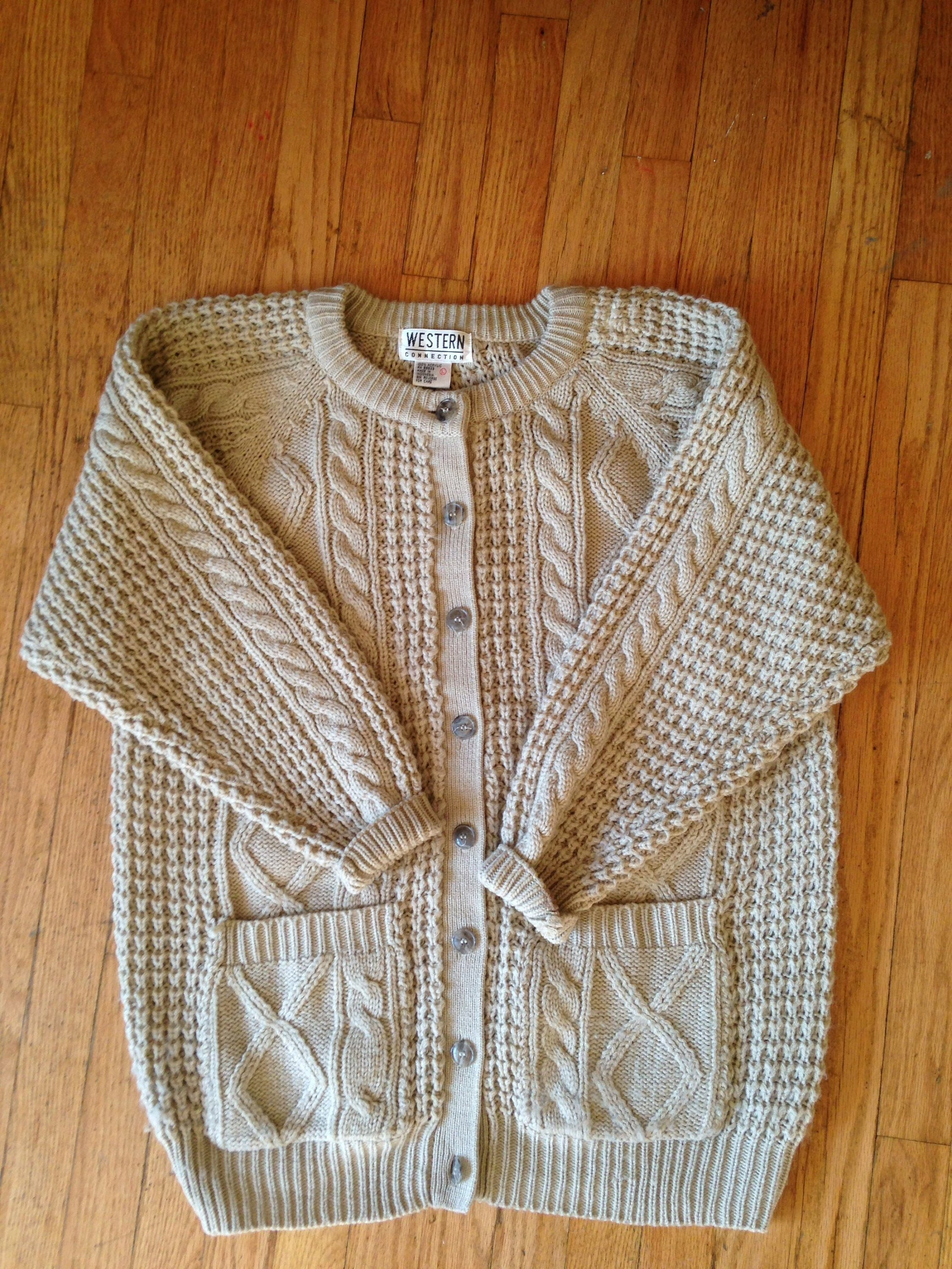 9d9d15a052 Vintage Beige Cream Cable Knit Sweater Chunky Knit Cardigan