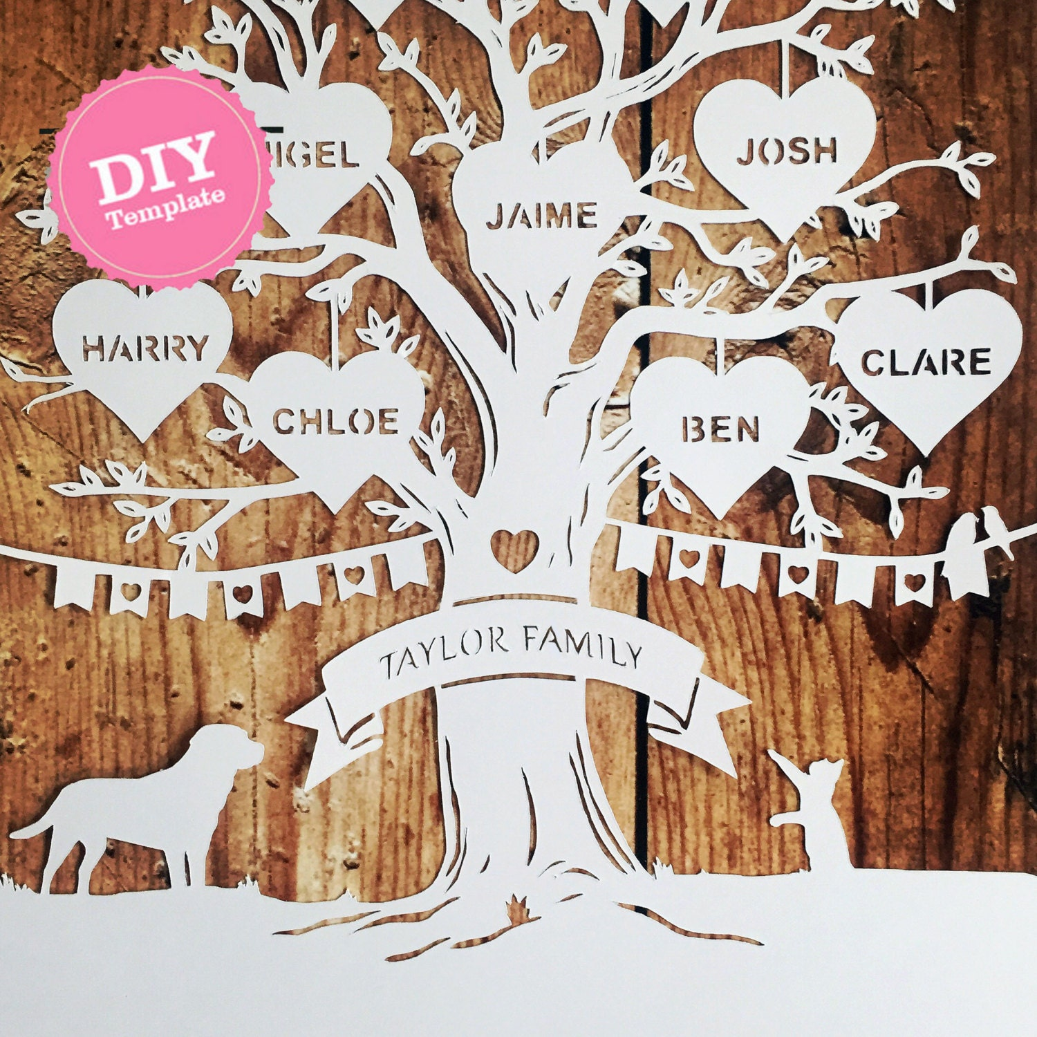 Diy Family Tree Papercutting Template Papercut Your Own Etsy