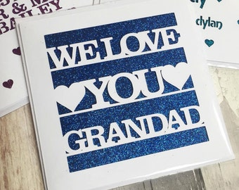 We love you grandad dad daddy glitter papercut card