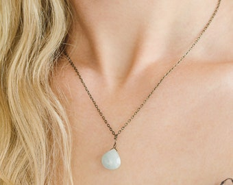 Blue Aquamarine crystal necklace. March birthstone necklace. Dainty necklace gift for mom. Gemstone pendant necklace. Boho Necklace.