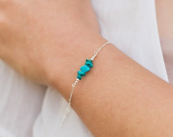 Turquoise bead bar crystal bracelet in bronze 6 chain with 2 adjustable extender December birthstone