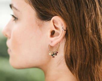 Tourmaline modern tribal hoops. Statement earrings. Beaded earrings. Bohemian earrings. Tourmaline earrings. October birthstone earrings.