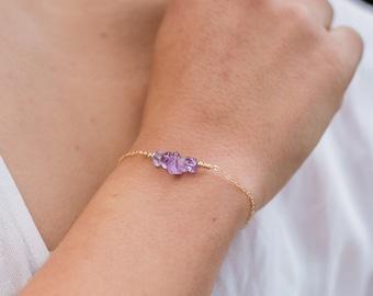 Amethyst Bar Bracelet - Amethyst Bracelet - Amethyst Beaded Bar Bracelet - February Birthstone Bracelet - Dainty Gemstone Bracelet
