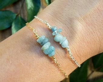 Aquamarine bracelet. March birthstone gemstone bracelet. Boho style aquamarine jewelry. Aquamarine birthstone bracelet. Birthstone jewelry.