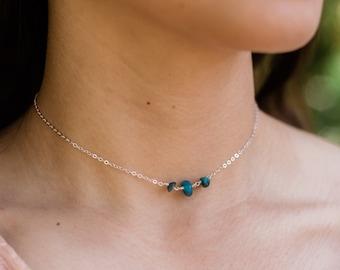 Apatite beaded boho choker. Apatite choker necklace. Blue crystal choker. Delicate choker. Gemstone choker. Tiny beaded choker.