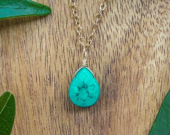 Tiny turquoise necklace. December birthstone necklace. Genuine turquoise jewelry. Dainty necklaces. Delicate necklace. Boho jewelry.
