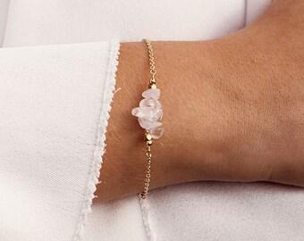 Rose Quartz Bar Bracelet - Rose Quartz Bracelet - Rose Quartz Beaded Bar Bracelet - January Birthstone Bracelet - Dainty Gemstone Bracelet