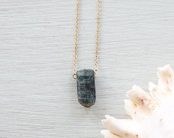 Small kyanite necklace - Tiny blue kyanite necklace - Tiny genuine raw kyanite necklace - Little natural rough kyanite necklace
