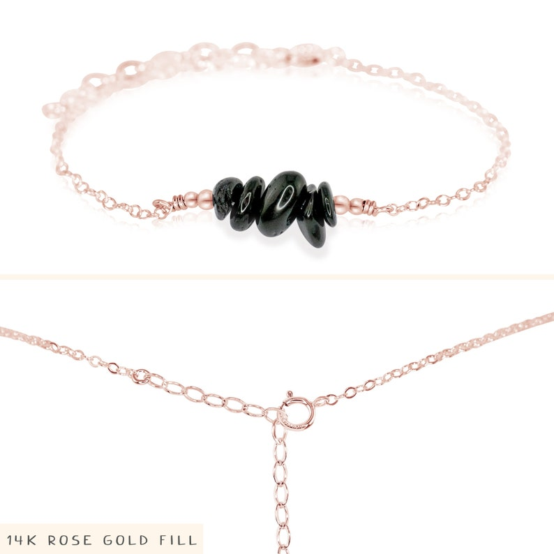 silver gold or rose gold Black Tourmaline bead bar crystal gemstone anklet in bronze 8 chain with 2 adjustable extender