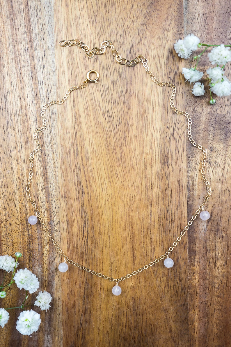 12 with 2 extender Boho rose quartz bead drop choker necklace in bronze January birthstone gold or rose gold Ships from USA silver