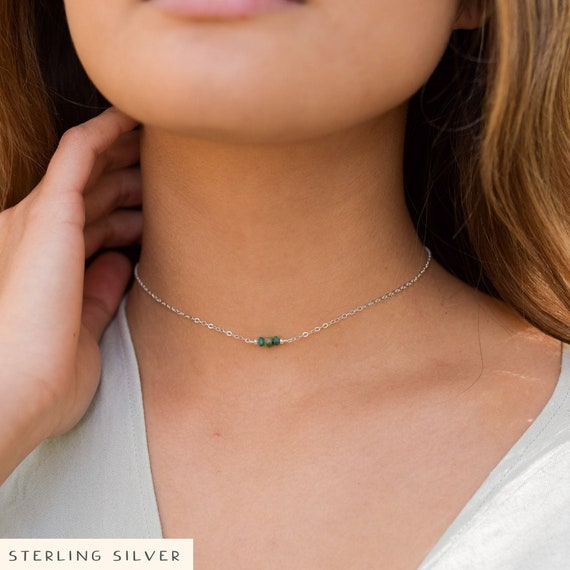 12 with 2 adjustable extender May birthstone Boho emerald bead drop choker necklace in 925 sterling silver