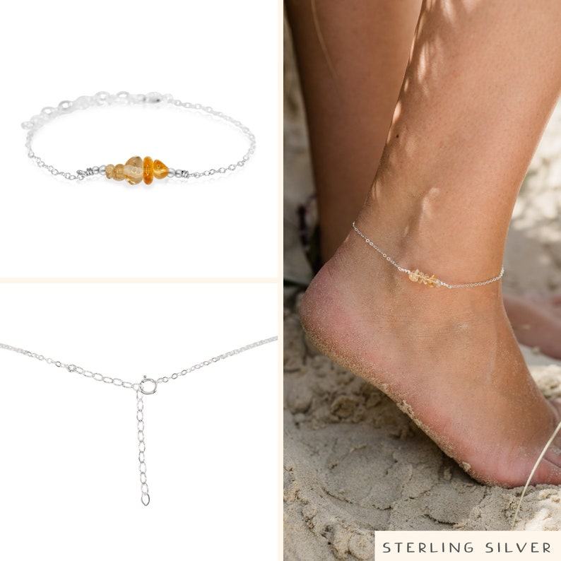 gold or rose gold silver Citrine bead bar crystal gemstone anklet in bronze 8 chain with 2 adjustable extender November birthstone