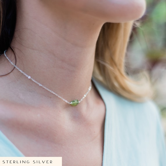 12 chain with 2 adjustable extender silver bronze or rose gold Tiny raw green peridot crystal nugget choker necklace in gold