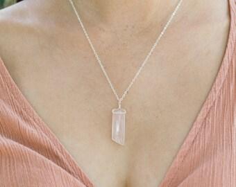 Rose quartz necklace - Polished rose quartz necklace - Natural rose quartz love quartz necklace - Rose quartz boho crystal necklace