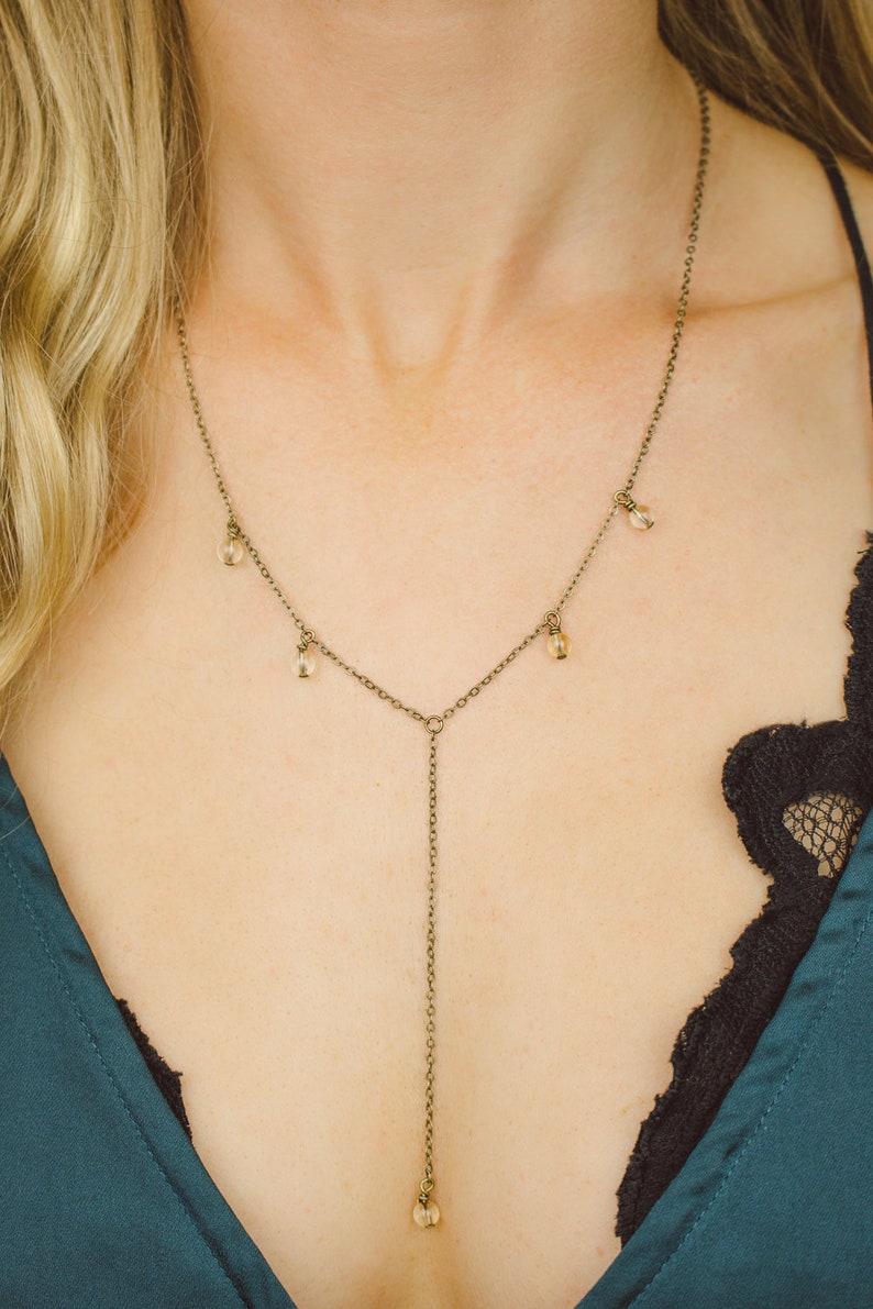 Citrine boho bead drop lariat necklace in bronze silver 18 with 2 adjustable extender /& 3 drop Ships from USA gold or rose gold