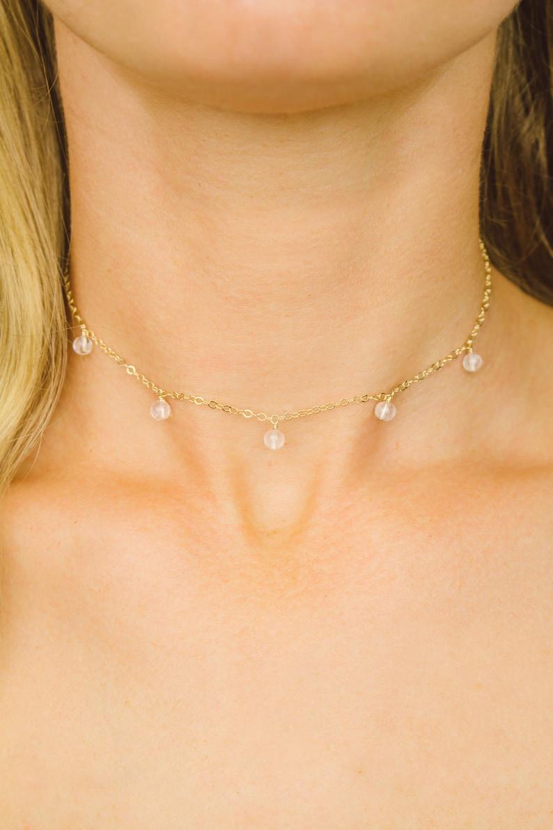 April birthstone choker necklace. Crystal choker Crystal quartz boho choker Quartz choker Clear crystal bead dangle drop choker