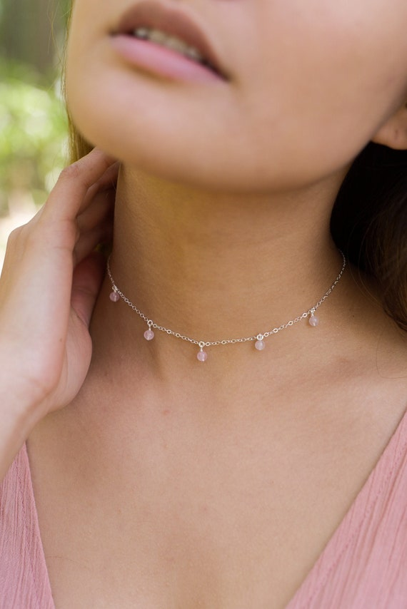 12 chain with 2 adjustable extender Rainbow moonstone beaded chain choker necklace in 925 sterling silver June birthstone