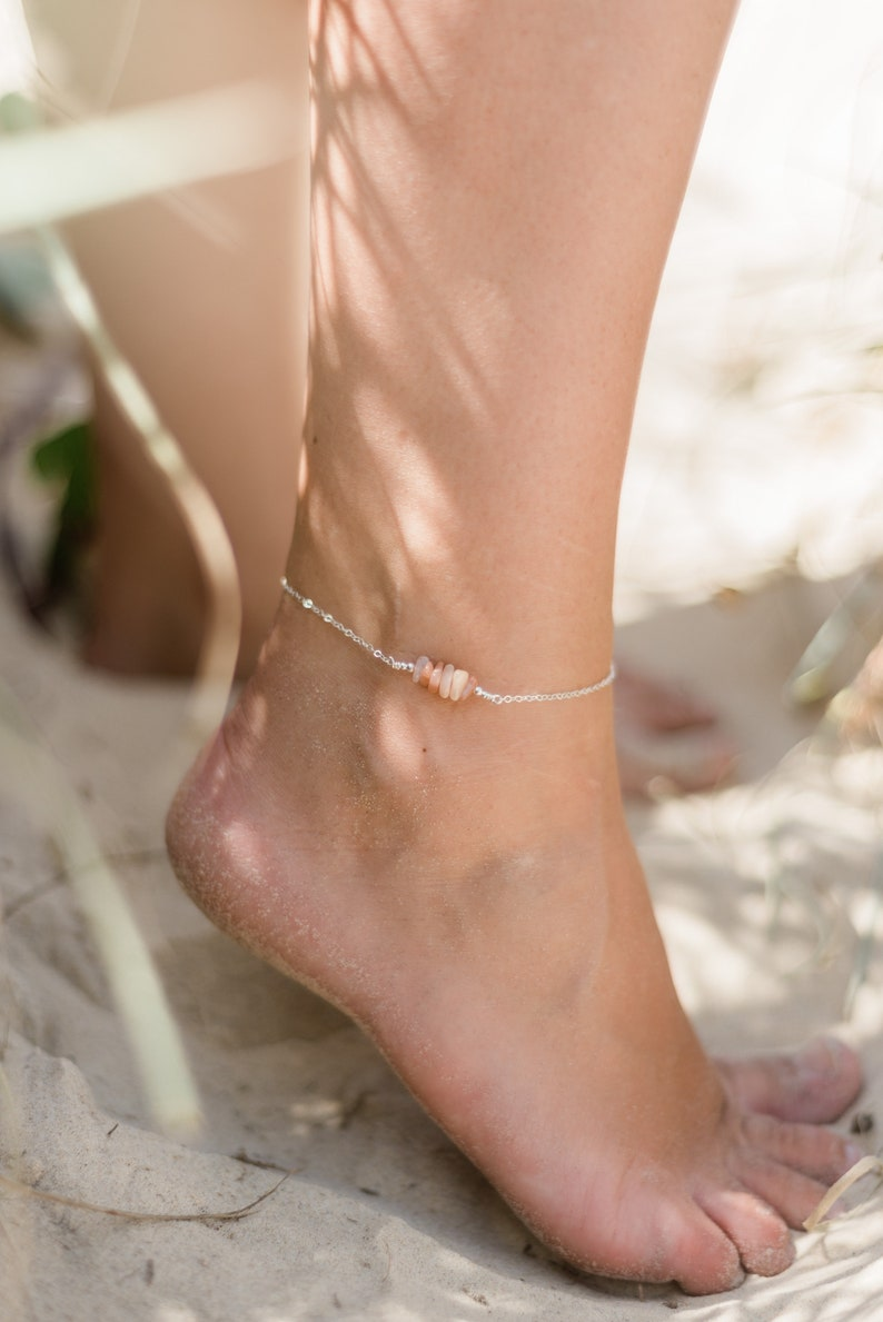 Crystal Quartz bead bar crystal gemstone anklet in 925 sterling silver 8 chain with 2 adjustable extender April birthstone