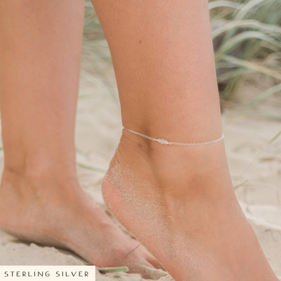 Pink Tourmaline Freshwater Pearl 925 Sterling silver Dainty birthstone bracelet Tiny gemstone Bracelet  Anklet