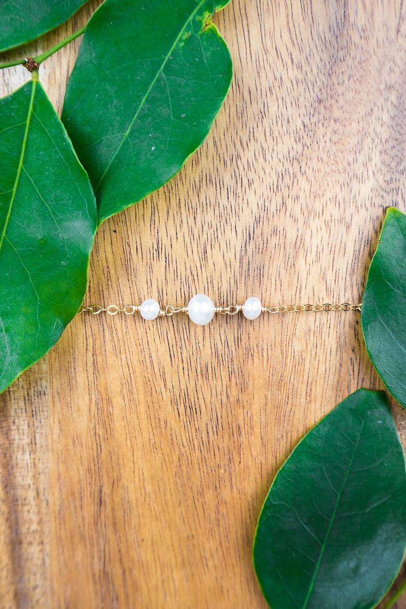 Dainty boho anklet for women Pearl bead anklet June birthstone anklet Pearl rosary anklet Pearl anklet Freshwater pearl beaded anklet