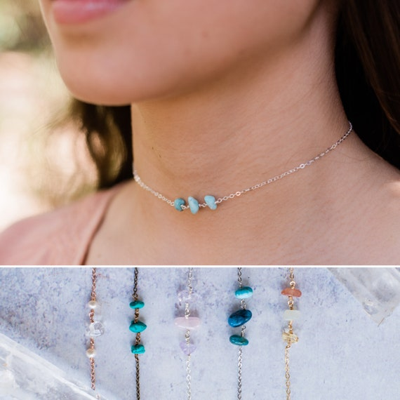 Turquoise Blue Crystal Charm Necklace Moonstone Chip Bead Gold Necklace Bridesmaid Gift Simple Necklace. Bridal Necklace