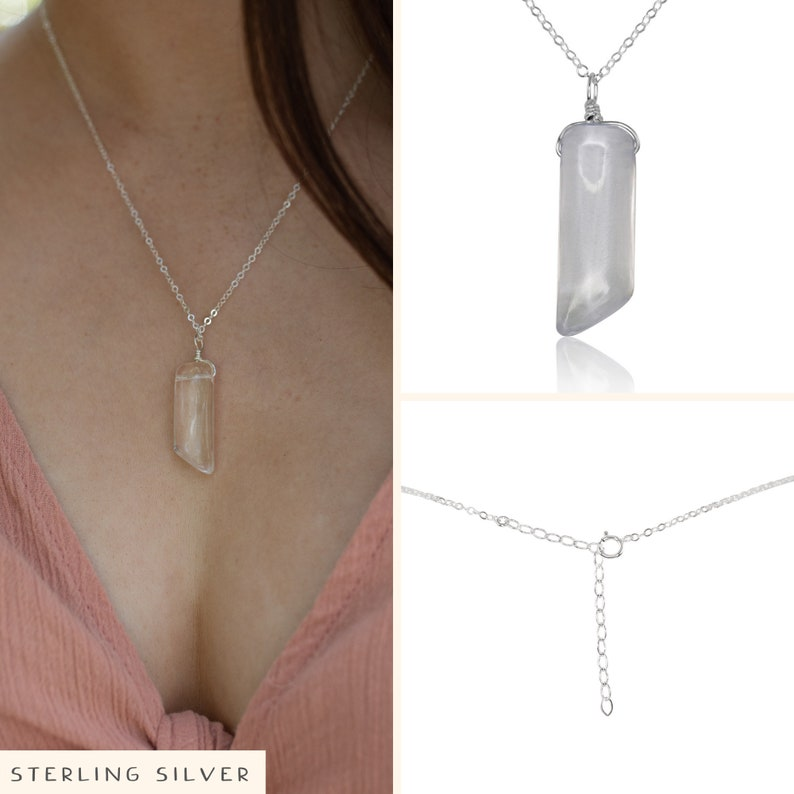 Clear crystal necklace Natural rough crystal necklace Rock crystal necklace Crystal quartz point necklace Crystal quartz necklace
