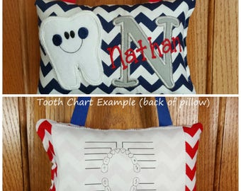 ecc6e726aa947e Personalized boys tooth fairy pillow navy and white chevron
