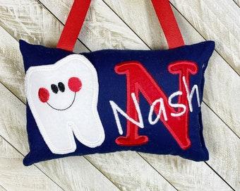 optional tooth chart available FABUMIMI ORIGINAL Personalized tooth fairy pillow butterfly pattern choose your version