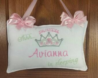 Personalized baby sleeping door hanger, baby pillow, baby shower gift, nursery decor, baby sleeping sign
