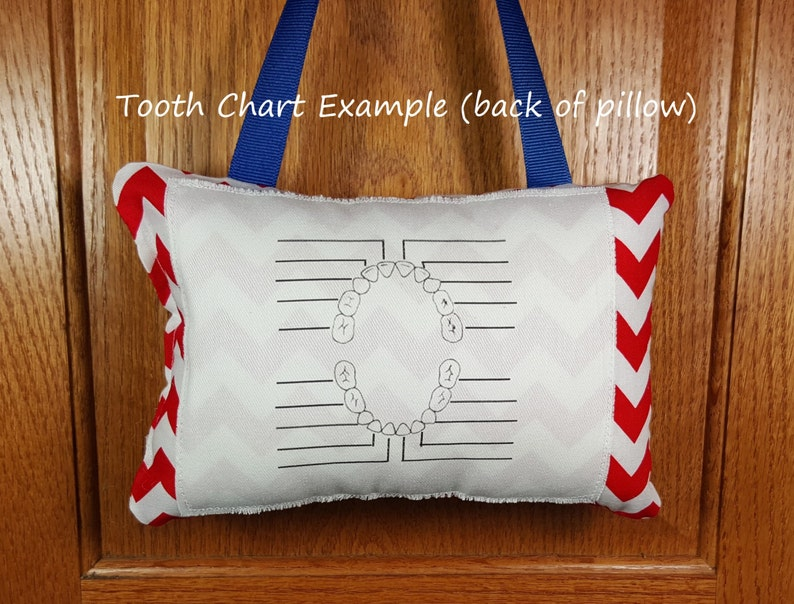 Tooth fairy pillow optional tooth chart FabuMimi Original gray and white chevron