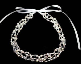 Bridal Bridal Bride Bridesmaid Headband dress transparent elegant fine princess white silver Wedding Wreath