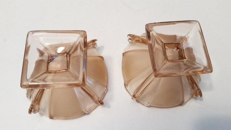 Vintage Pair Peach Carnival Glass Candy Pedestal Bowls Desert bowls Starter Dishes
