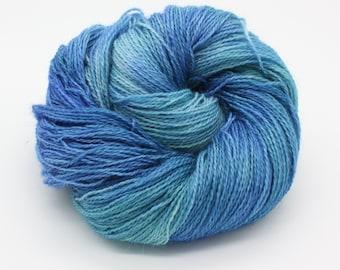 Hand Dyed 4ply Sock Yarn - Corriedale & Mohair - Blue Lagoon