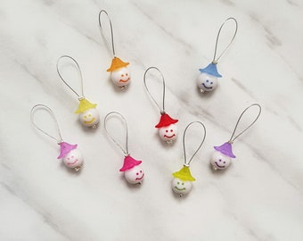 Smiley Face Bead Knitting Stitch Markers