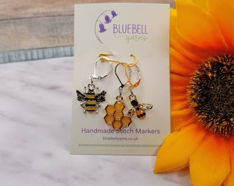 Knitting & Crochet Progress Keepers/Stitch Markers - Bee and Honeycomb