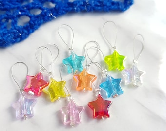 Star Stitch Markers for Knitting - Rainbow