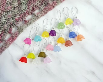 Knitting Stitch Markers - Bluebell Flower - Snag Free