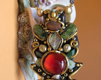 Fairy Elvish Red Forest Treasure Necklace