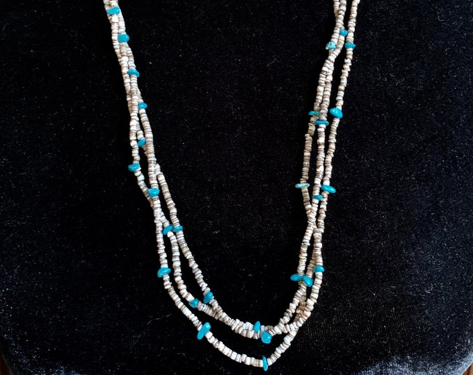 Native American Heishi Shell Bead and Turquoise 3-strand Necklace 27 Inch