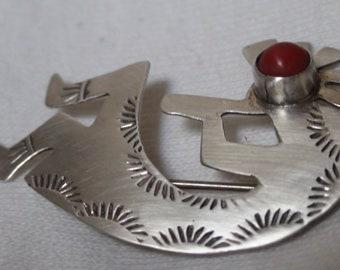 Native American Navajo Sterling Silver Coral Kokopelli Brooch Pin JB Platero