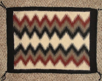 Native American Navajo Wool Rug Hand Made Four Corners 26 X 19 Inches Authentic