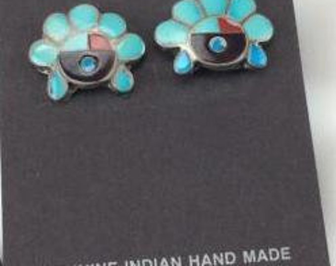 Native American Zuni Sterling Silver Multi Stone Inlay Sunface Earrings