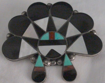 Native American Zuni Sterling Silver Multi Stone Inlay Sunface Brooch Pendant Aaron Dishta