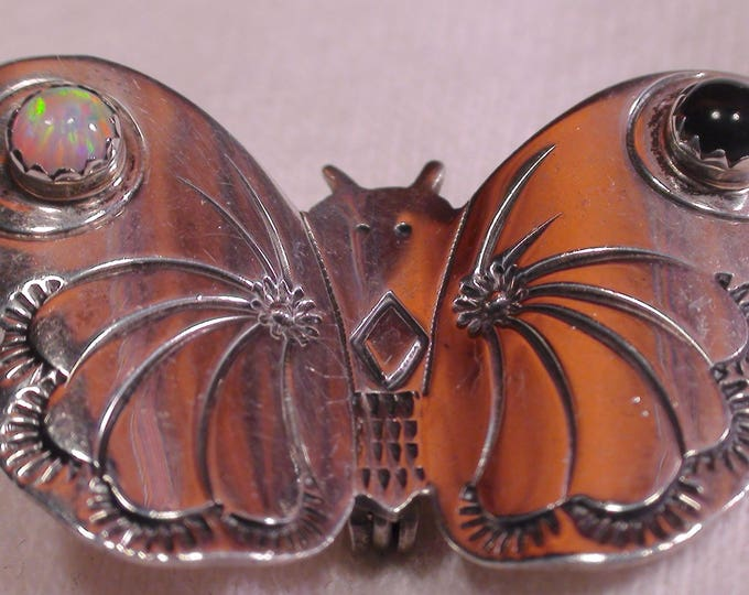 Native American Navajo Sterling Silver Opal Onyx Butterfly Brooch Pin