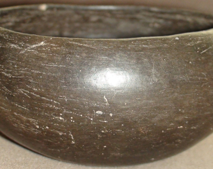 Pre-Columbian Ramos Paquimé Casas Grandes Blackware Bowl Mexico 5 X 2 1/2 Inches Circa 1200-1450 CE