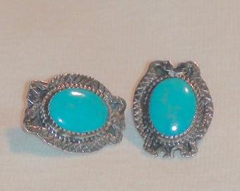 Southwestern Sterling Silver Turquoise Rattlesnake Earrings Stamped
