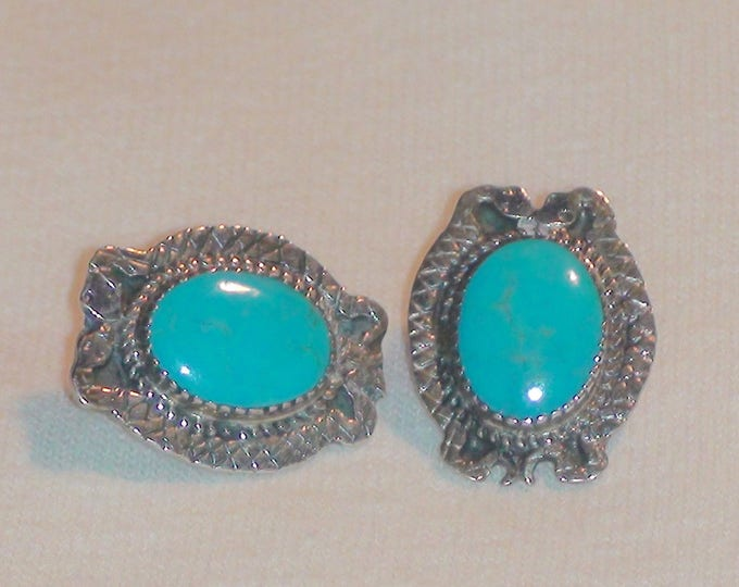 Southwestern Sterling Silver Turquoise Rattlesnake Earrings Stamped