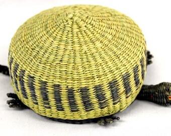 Native American Makah Nootka Turtle Lidded Basket 3 X 5 Inch